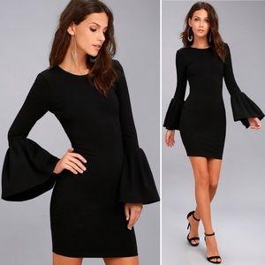 Lulu's Double Flair Black Long Sleeve Dress